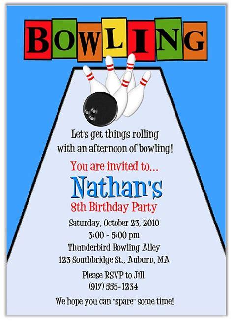 Bowling Birthday Party Invitations Boy Bowling Sports Kids Birthday Bowling Invitation Template