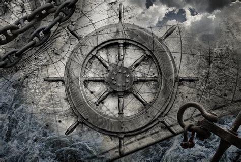 vintage navigation background illustration with steering