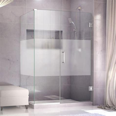Half Glass Shower Door Dreamline Unidoor Plus 30 3 8 In X 35 1 2 In X 72 In Hinged Shower Enclosure With Half