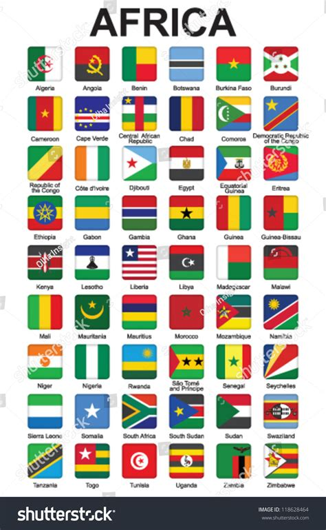 african countries flags set push buttons african countries flags stock vektor