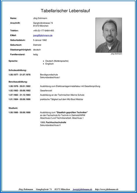 Tabellarischer Lebenslauf Techniker Tabellarischer Lebenslauf Pdf