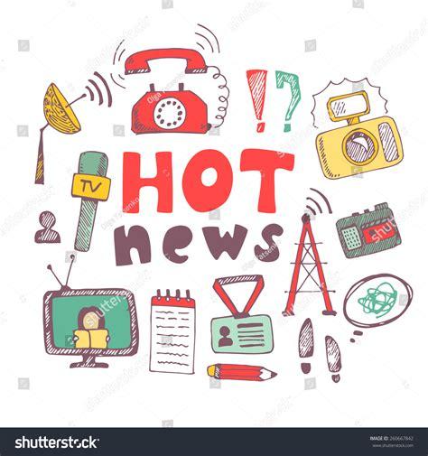 doodle tv vector doodle journalism news illustration stock