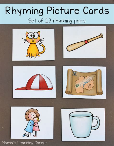 cards and pictures rhyming picture cards mamas learning corner