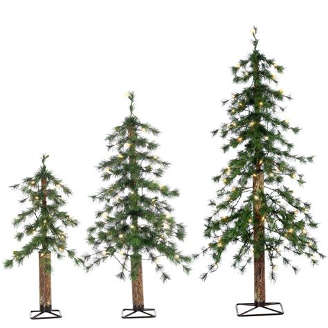 sterling 2 ft 3 ft and 4 ft set of pre lit alpine