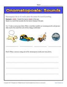 onomatopoeia sounds figurative language worksheets
