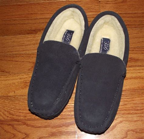 mens leather fur lined slippers new in box mens brothers faux fur lined suede