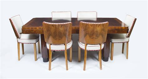 Antique Art Deco Walnut Rosewood Dining Table 6 Chairs Walnut Dining Table And 6 Chairs