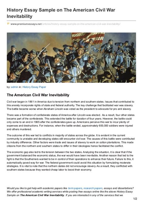 Was The Civil War Inevitable Essay Free by Premiumessays Net History Essay Sle On The American Civil War Inev