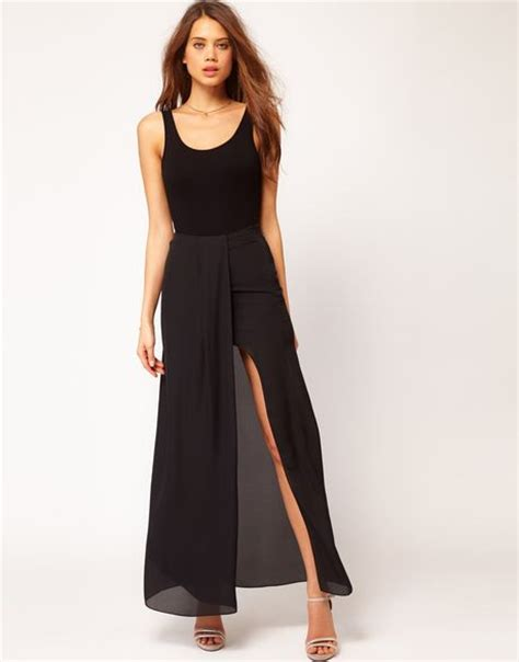 asos asos maxi skirt in high low hem in black lyst