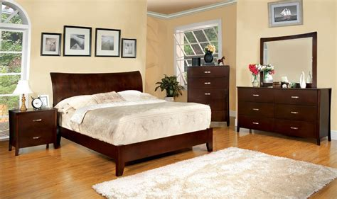 padded headboard bedroom sets enrico i contemporary brown cherry platform bedroom set