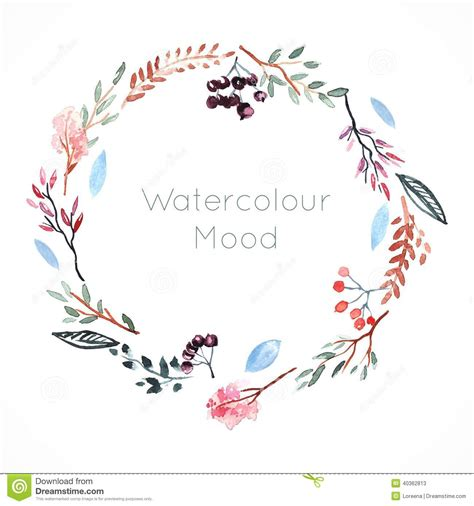 watercolor frame with berries and flowers stock vector