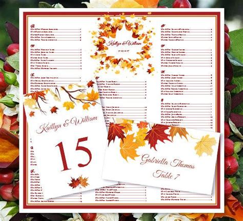 Thanksgiving Seating Cards Templates Docs wedding seating chart quot falling leaves quot fall autumn or