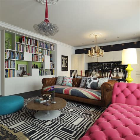 colourful living room modern pop style apartment