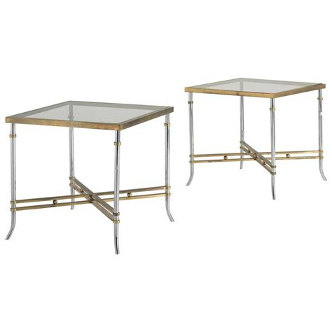 X Frame Side Table Pair Of Chrome And Brass X Frame Side Table Circa 1970 At