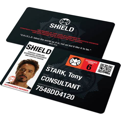shield id card template custom id card badge agents of shield capt america