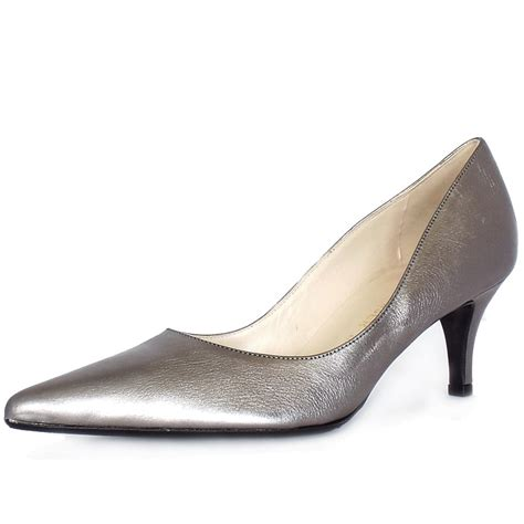 silver shoes kaiser soffi mid heel court shoes in silver