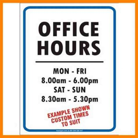 Office Hours Sign Template