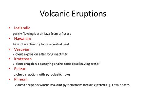 list of volcanic eruptions geography notes volcanoes earthquakes aqa