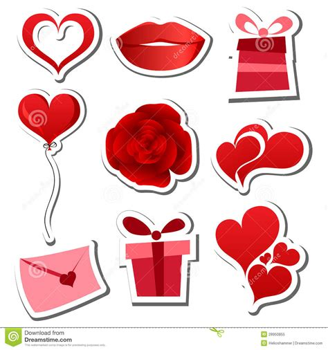 valentines sets valentines day sticker set royalty free stock photo