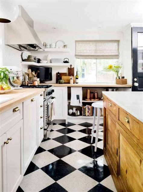 Black And White Tile Floor Kitchen by 70 Best Black And White Kitchens Images On