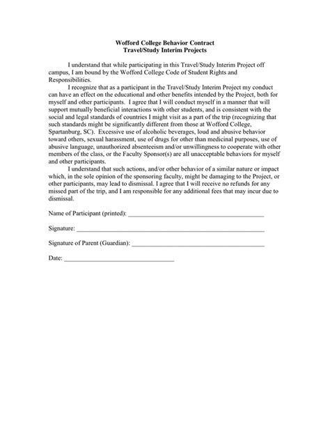 Wofford College Behavior Contract In Word And Pdf Formats Code Of Conduct Contract Template