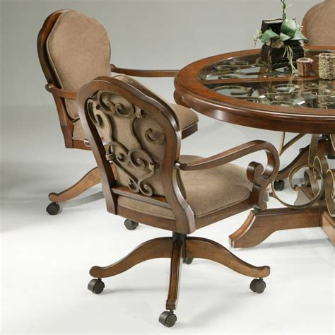 Dining Chair On Casters Kitchen Chairs With Rollers Gallery Tilt Swivel Dining Chair Casters By Images Brown Varnished
