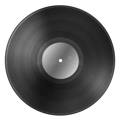 blank printable vinyl black vinyl record disc with blank label isolated on white