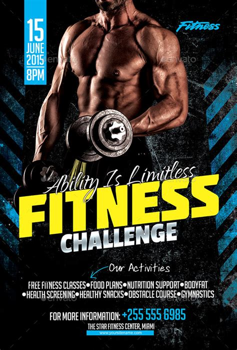 templates bodybuilder for photoshop download fitness challenge flyer by inddesigner graphicriver