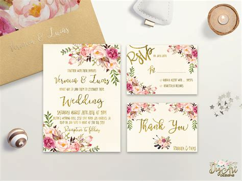 printable wedding invitations floral floral wedding invitation printable wedding invitation suite