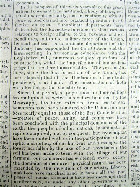 Sle Of Inaugural Speech 1825 newspaper quincy president inauguration