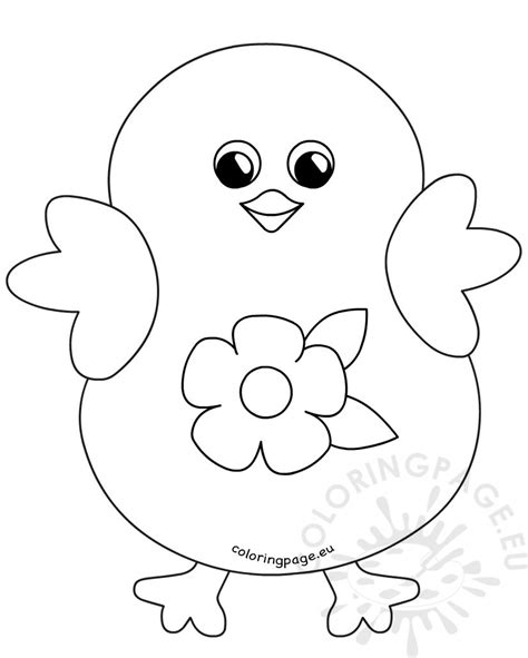 coloring happy easter chick flower cartoon coloring page