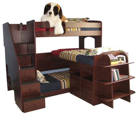 dayton triple decker twin stairway bed contemporary bunk beds by totally kids fun