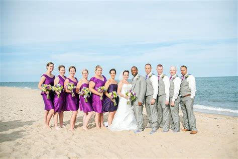 beach wedding party in purple and gray