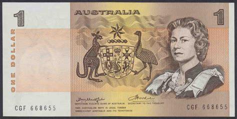 one australia australian one dollar 1 paper note wheeler 1976