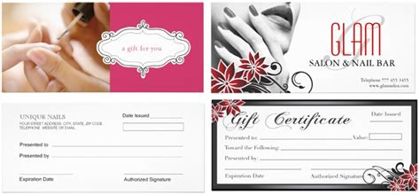 manicure gift card template gift certificate template for nail salon gift ftempo