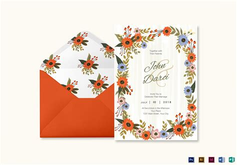 Indesign Invitation Card Template by Summer Floral Wedding Invitation Card Design Template In