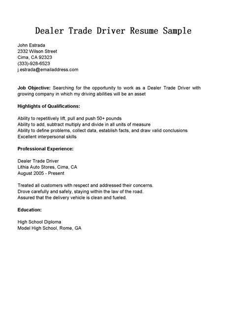 delivery driver cover letter resume objective templates