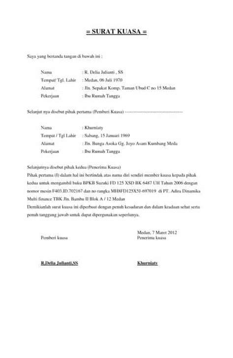 Contoh Surat Jual Beli Motor Untuk Balik Nama - Gudang Surat