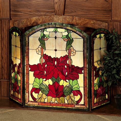 Yvette Decorative Floral Stained Glass Fireplace Screen Stained Glass Fireplace Doors