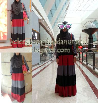 Dress Set Hitam Merah Lou kelengkapan haji dan umrah maxi dress mix belang hitam