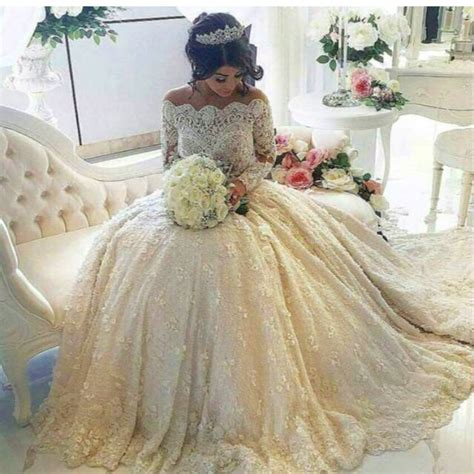 Gold Lace Appliques Long Sleeves White Tulle Ball Gowns Wedding Dress | aliexpress com buy gold lace appliques long sleeves