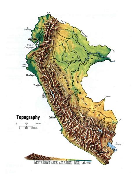 topographical map of detailed topographical map of peru peru south america