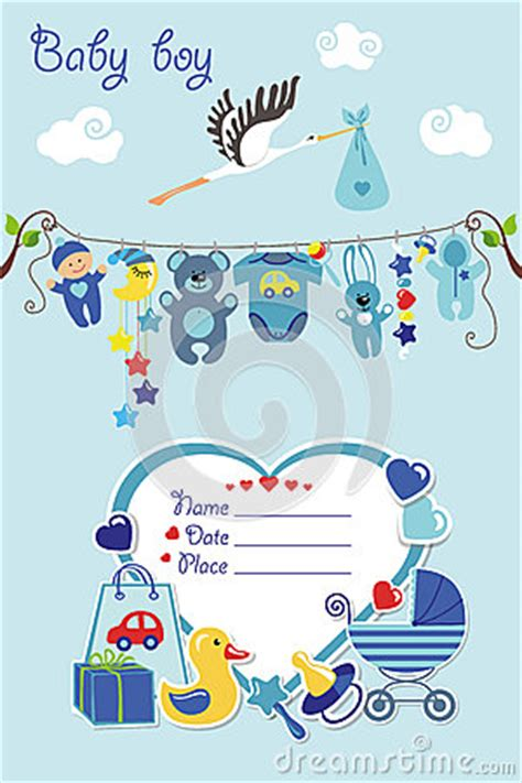 New Born Baby Boy Card Shower Invitation Stock Vector Image 68454522 Stork Baby Shower Invitation Templates