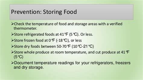 at what temperature should storage rooms be kept food safety hygiene