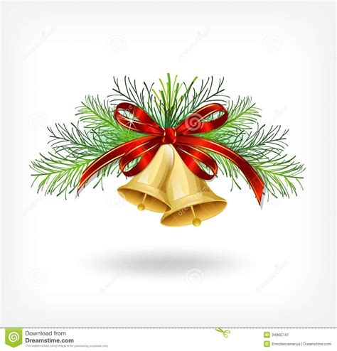 christmas bells with tree decorations stock image image