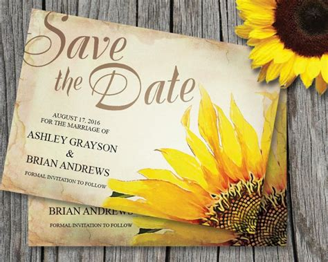 sunflower pictures for business card template sunflower save the date card template wedding rustic