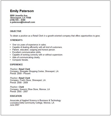 sle clerk resume sales marketing resume exles