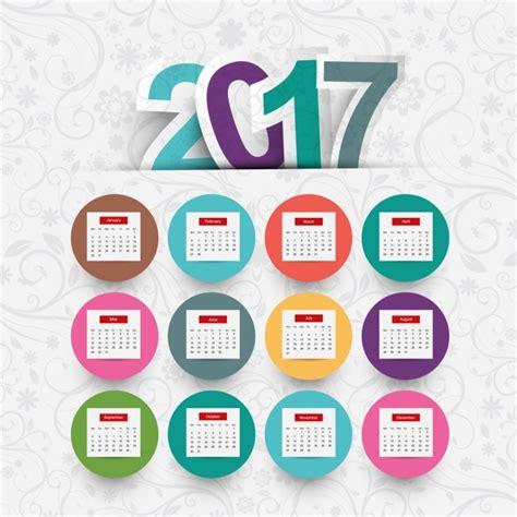 Calendario Vetor Calendario 2017 De C 237 Rculos De Colores Descargar