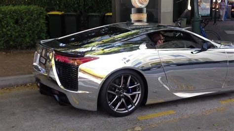 lexus wrapped lexus lfa wrapped in chrome revving great exhaust sound