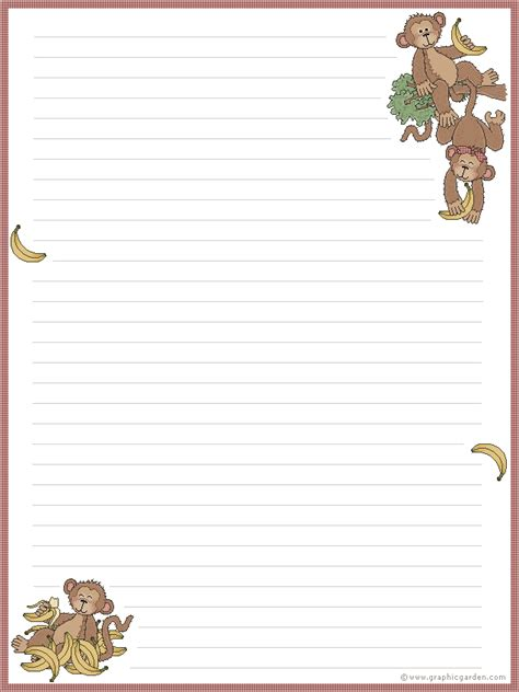 printable animal letterhead stationary borders for any age on pinterest writing